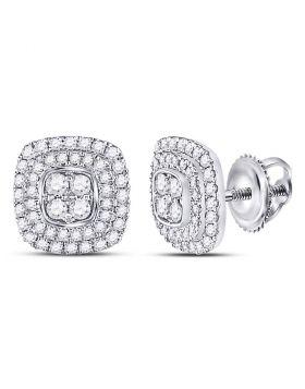 14kt White Gold Womens Round Diamond Square Frame Cluster Earrings 1/2 Cttw
