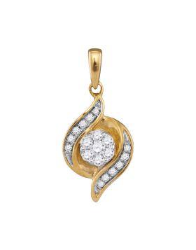 14kt Yellow Gold Womens Round Diamond Flower Cluster Pendant 1/5 Cttw