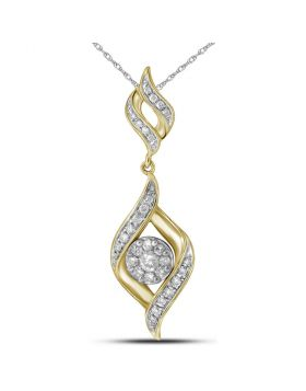 14kt Yellow Gold Womens Round Diamond Cluster Pendant 1/3 Cttw