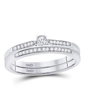 10kt White Gold Womens Round Diamond Bridal Wedding Engagement Ring Band Set 1/8 Cttw