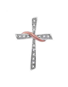 Sterling Silver Womens Round Diamond Cross Pendant 1/20 Cttw