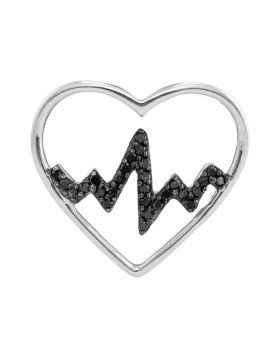 Sterling Silver Womens Round Black Color Enhanced Diamond Heartbeat Heart Pendant 1/10 Cttw