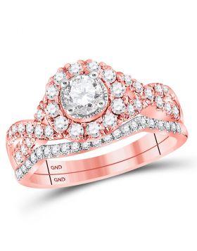 14kt Rose Gold Womens Round Diamond Twist Bridal Wedding Engagement Ring Band Set 1.00 Cttw