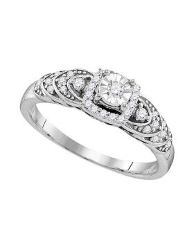 Sterling Silver Womens Round Diamond Heart Bridal Wedding Engagement Ring 1/5 Cttw
