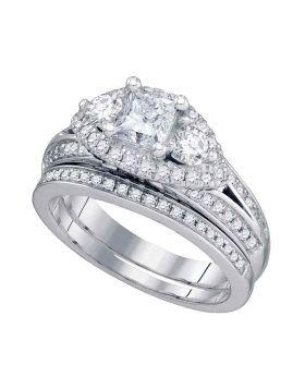 14kt White Gold Womens Princess Diamond Bridal Wedding Engagement Ring Band Set 2-3/4 Cttw