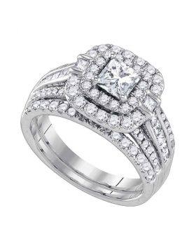 14kt White Gold Womens Diamond Princess Double Halo Bridal Wedding Engagement Ring Set 2 Cttw