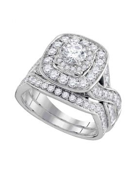 14kt White Gold Womens Round Diamond Halo Bridal Wedding Engagement Ring Band Set 2.00 Cttw