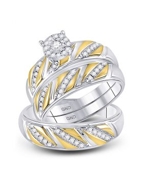 10kt Two-tone Gold His Hers Round Diamond Solitaire Matching Bridal Wedding Ring Band Set 1/3 Cttw
