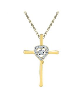 10kt Yellow Gold Womens Round Diamond Solitaire Cross Heart Religious Pendant 1/10 Cttw