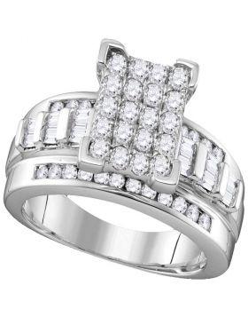 10kt White Gold Womens Round Diamond Cinderella Cluster Bridal Wedding Engagement Ring 1.00 Cttw