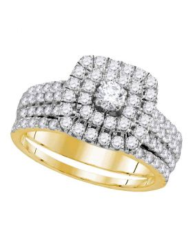 14kt Yellow Gold Womens Round Diamond Certified Double Halo Bridal Wedding Engagement Ring Band Set 1-3/4 Cttw