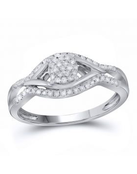14kt White Gold Womens Round Diamond Cluster Ring 1/5 Cttw