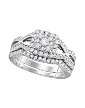 14kt White Gold Womens Round Diamond Split-shank Bridal Wedding Engagement Ring Band Set 1.00 Cttw