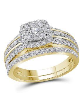 14kt Yellow Gold Womens Round Diamond Bridal Wedding Engagement Ring Band Set 1.00 Cttw