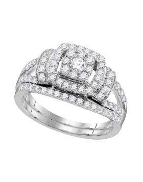 14kt White Gold Womens Diamond Framed Cluster Bridal Wedding Engagement Ring Band Set 1.00 Cttw