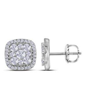 10kt White Gold Womens Round Diamond Framed Square Cluster Earrings 1.00 Cttw