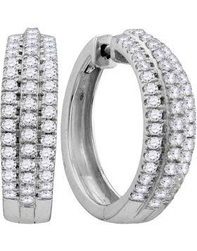 10kt White Gold Womens Round Diamond Hoop Fashion Earrings 1.00 Cttw