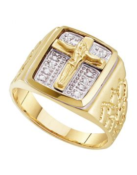 10kt Yellow Gold Round Diamond Crucifix Jesus Cross Ring 1/20 Cttw