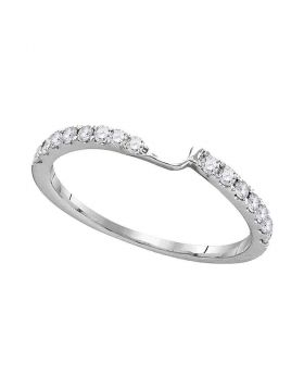 14kt White Gold Womens Round Diamond 2-stone Wedding Anniversary Band 1/4 Cttw