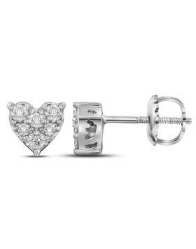 14kt White Gold Womens Round Diamond Heart Cluster Stud Earrings 1/3 Cttw