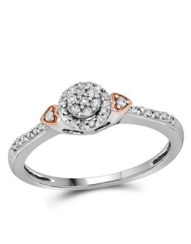 10kt Two-tone Gold Womens Round Diamond Cluster Double Heart Ring 1/6 Cttw