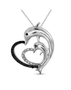 10kt White Gold Womens Round Black Color Enhanced Diamond Dolphin Heart Pendant 1/8 Cttw