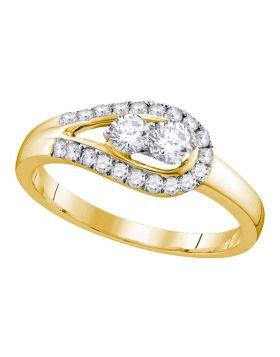 10kt Yellow Gold Womens Round Diamond 2-stone Bridal Wedding Engagement Ring 1/2 Cttw