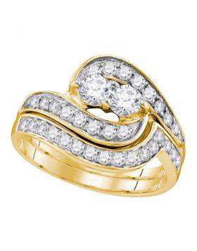 14kt Yellow Gold Womens Round 2-Stone Diamond Bridal Wedding Engagement Ring Band Set 1.00 Cttw