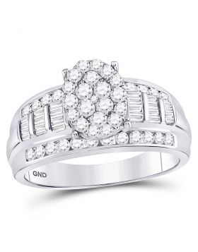 10kt White Gold Womens Diamond Oval Cluster Bridal Wedding Engagement Ring 1.00 Cttw