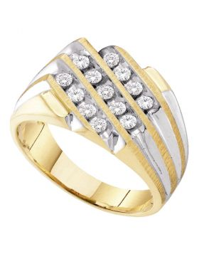 10KT TWO-TONE YELLOW GOLD ROUND DIAMOND 3-ROW CLUSTER RING 1/2 CTTW