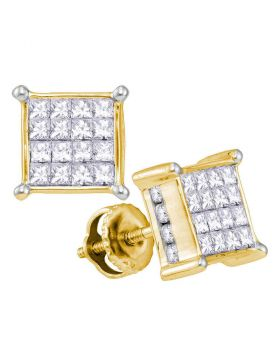 14kt Yellow Gold Womens Princess Diamond Cluster Stud Earrings 1.00 Cttw