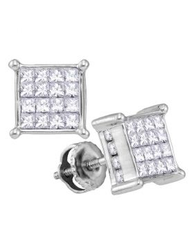 14kt White Gold Womens Princess Diamond Cluster Stud Earrings 1.00 Cttw