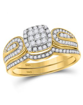 10kt Yellow Gold Womens Round Diamond Cluster Bridal Wedding Engagement Ring Band Set 1/2 Cttw