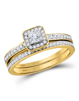 10kt Yellow Gold Womens Princess Diamond Bridal Wedding Engagement Ring Band Set 3/4 Cttw
