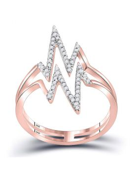 10kt Rose Gold Womens Round Diamond Double Heartbeat Ring 1/5 Cttw