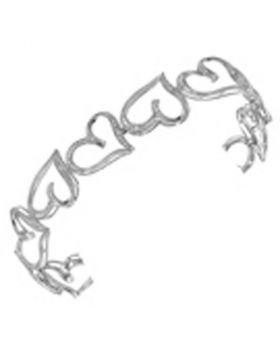 10kt White Gold Womens Round Diamond Heart Bangle Bracelet 1/8 Cttw