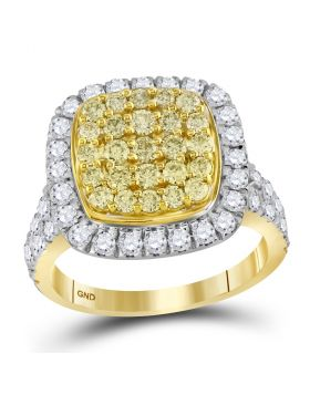 14kt Yellow Gold Womens Round Natural Yellow Diamond Cluster Ring 1-3/4 Cttw
