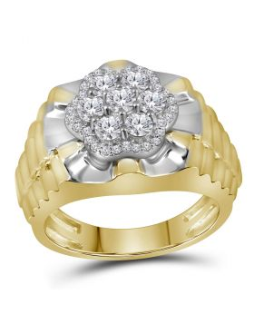 10KT TWO-TONE YELLOW WHITE GOLD ROUND DIAMOND FLOWER CLUSTER RIBBED RING 1.00 CTTW