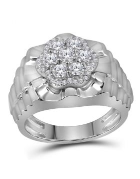 10KT WHITE GOLD ROUND DIAMOND FLOWER CLUSTER RIBBED RING 1.00 CTTW