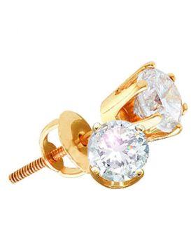 14kt Yellow Gold Womens Round Diamond Stud Earrings 2.00 Cttw