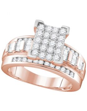 10kt Rose Gold Womens Round Diamond Cindys Dream Cluster Bridal Wedding Engagement Ring 2.00 Cttw