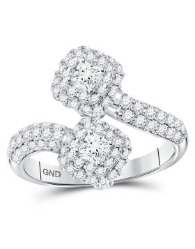 14kt White Gold Womens Princess Diamond 2-stone Hearts Together Bypass Bridal Wedding Engagement Ring 1-1/2 Cttw