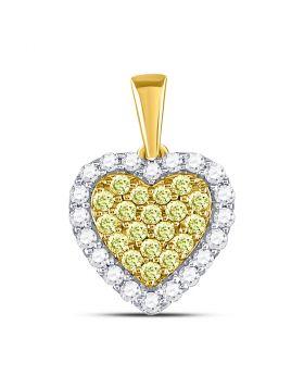 14kt Yellow Gold Womens Round Yellow Diamond Heart Frame Pendant 7/8 Cttw