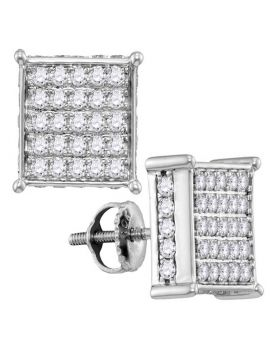 10kt White Gold Womens Round Pave-set Diamond Square Cluster Earrings 1.00 Cttw