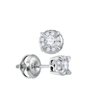 14kt White Gold Womens Round Diamond Framed Solitaire Screwback Stud Earrings 1/4 Cttw