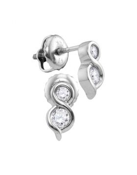 14kt White Gold Womens Round Diamond 2-stone Hearts Together Stud Earrings 1/4 Cttw