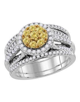 14kt White Gold Womens Round Yellow Diamond Bridal Wedding Engagement Ring Band Set 3.00 Cttw