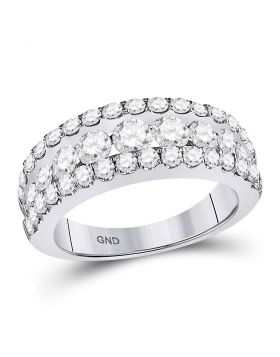 14kt White Gold Womens Round Diamond Triple Row Band Ring 2.00 Cttw