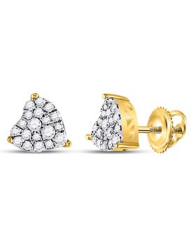10kt Yellow Gold Womens Round Diamond Heart Cluster Earrings 1/4 Cttw