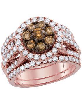 14kt Rose Gold Womens Round Brown Diamond 3-Piece Bridal Wedding Engagement Ring Band Set 4.00 Cttw